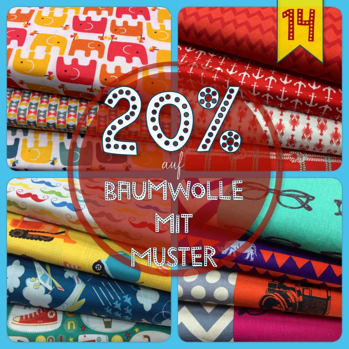Türchen N°14 im Adventsmirakel: 20% Rabatt auf gemusterte Baumwollstoffe!