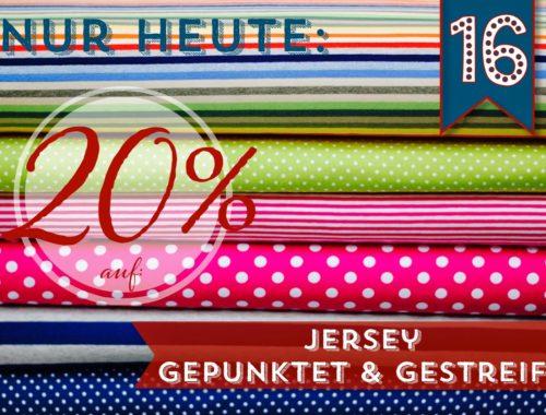 Türchen N°16 im Adventsmirakel: 20% Rabatt auf Jersey gepunktet & gestreift!