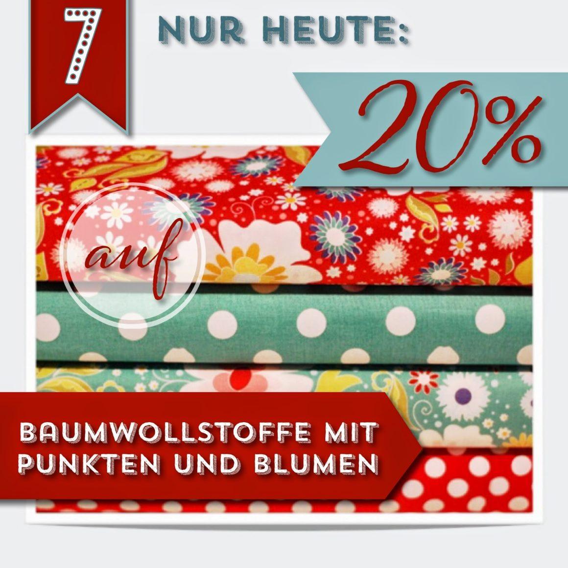 Türchen N°7 im Adventsmirakel: 20% auf Baumwollstoffe mit Punkten & Blumen!