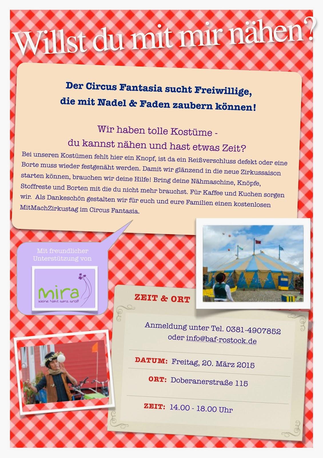 Habt Ihr Lust? Nähen für den Circus Fantasia!