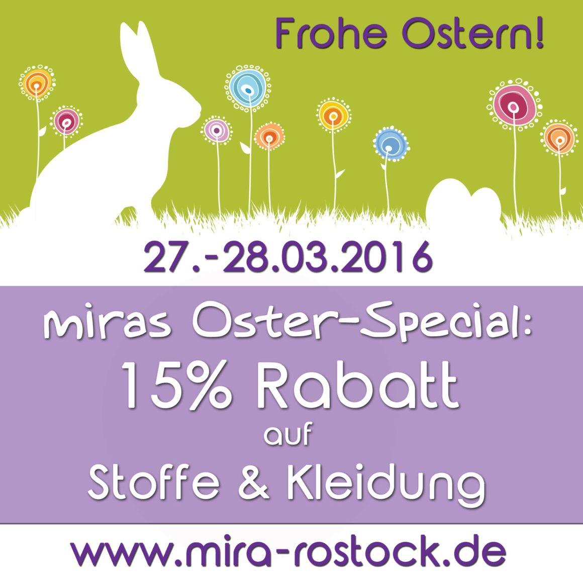 miras Oster-Special: 15% Rabatt auf Stoffe & Kleidung!