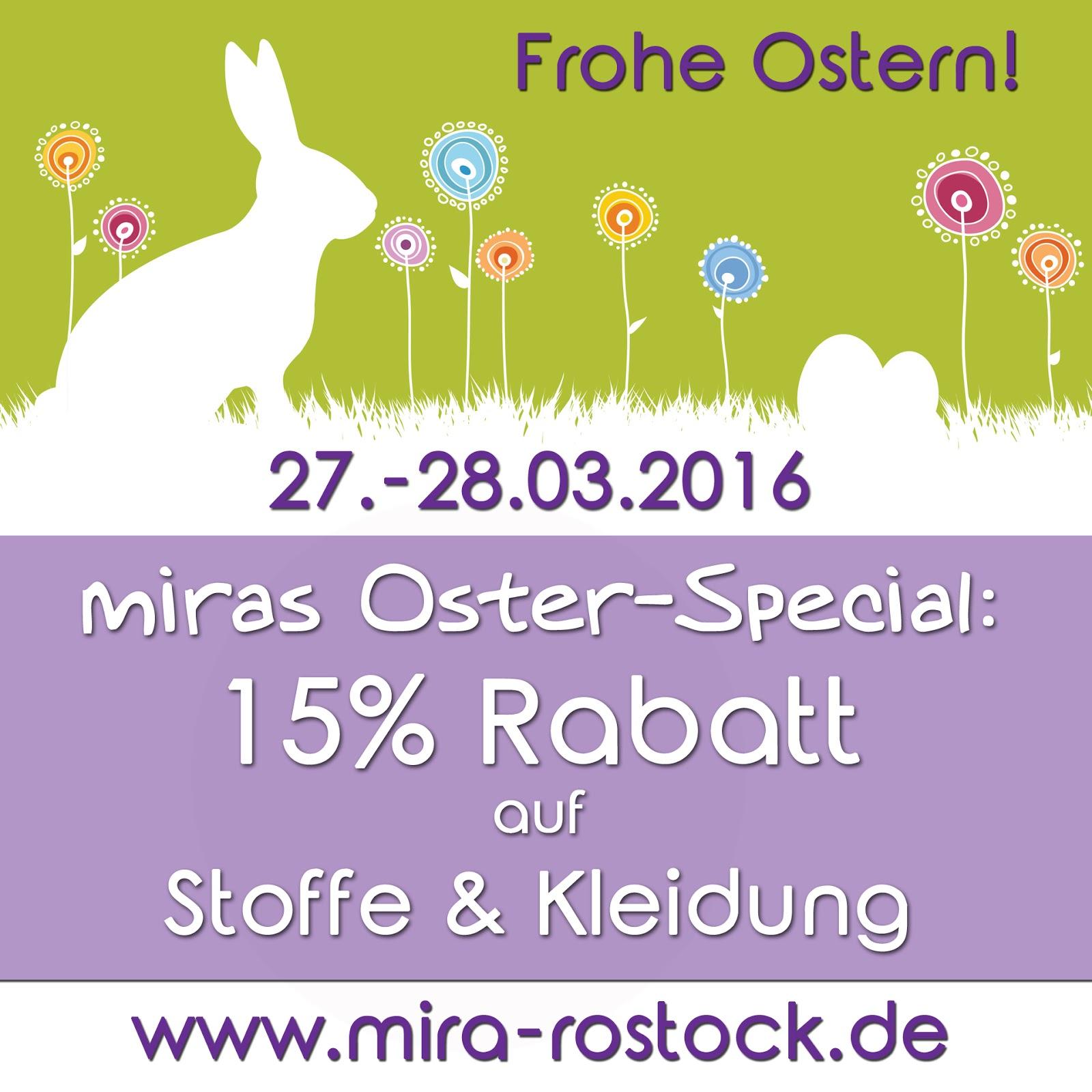 miras Oster-Special: 15% Rabatt auf Stoffe & Kleidung! 1