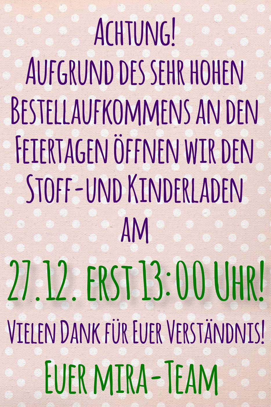 Achtung! Öffnungszeiten-Änderung am Dienstag!