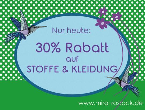 miras Adventscountdown - 30% Rabatt auf alle Stoffe & Kleidung!
