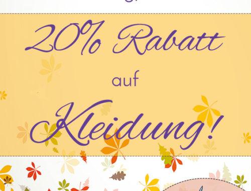 Herbstaktion! 20% Rabatt auf Kleidung!