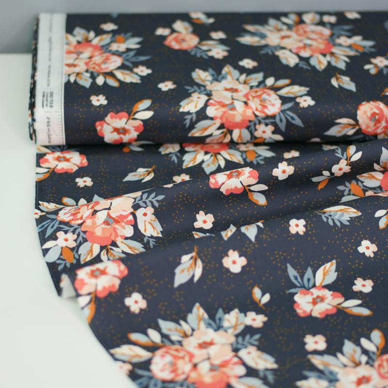 HOMEBODY Popeline Blüten graphitgrau 1