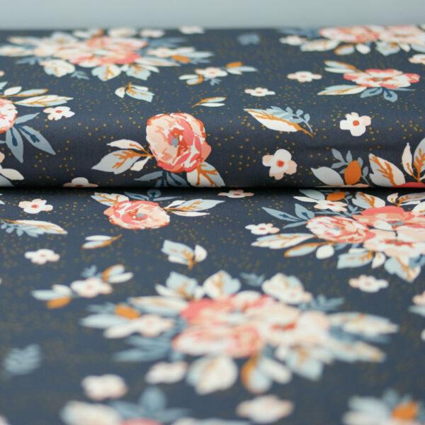 HOMEBODY Popeline Blüten graphitgrau 3