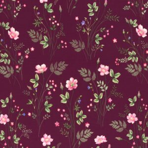 JONNE Jersey Blumen bordeaux total