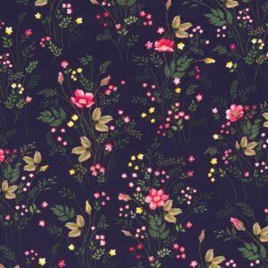 JONNE Jersey kleine Blumen dunkelblau total