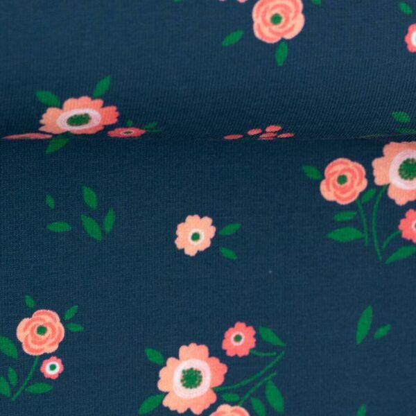 JONNE Jersey kleine Blumen petrol