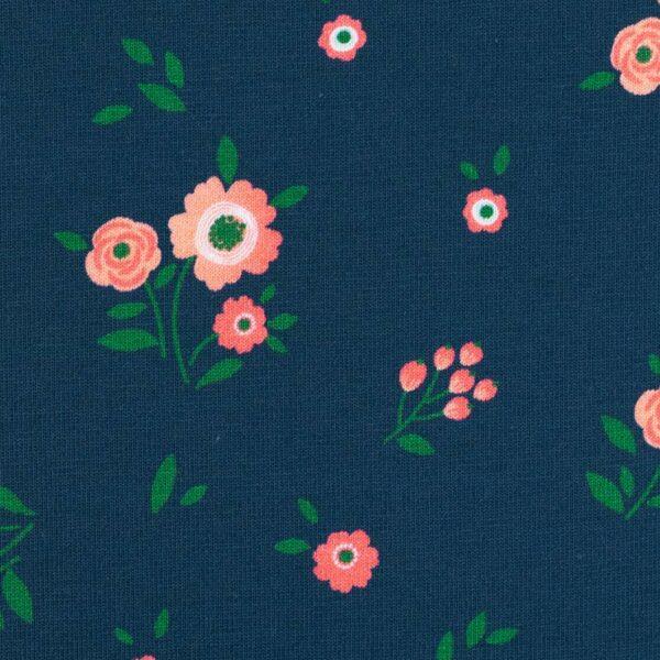 JONNE Jersey kleine Blumen petrol zoom