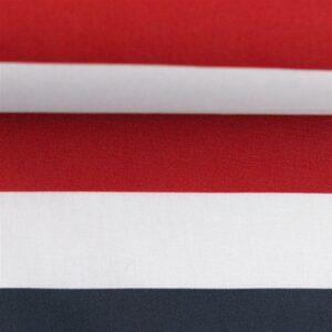 KIM Popeline Blockstreifen 3cm navy weiß rot
