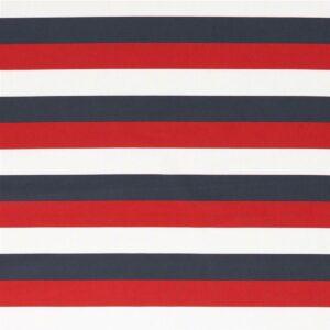 KIM Popeline Blockstreifen 3cm navy weiß rot total