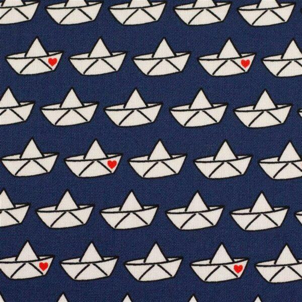 LOVEBOAT by Cherry Picking Popeline Papierboote dunkelblau zoom