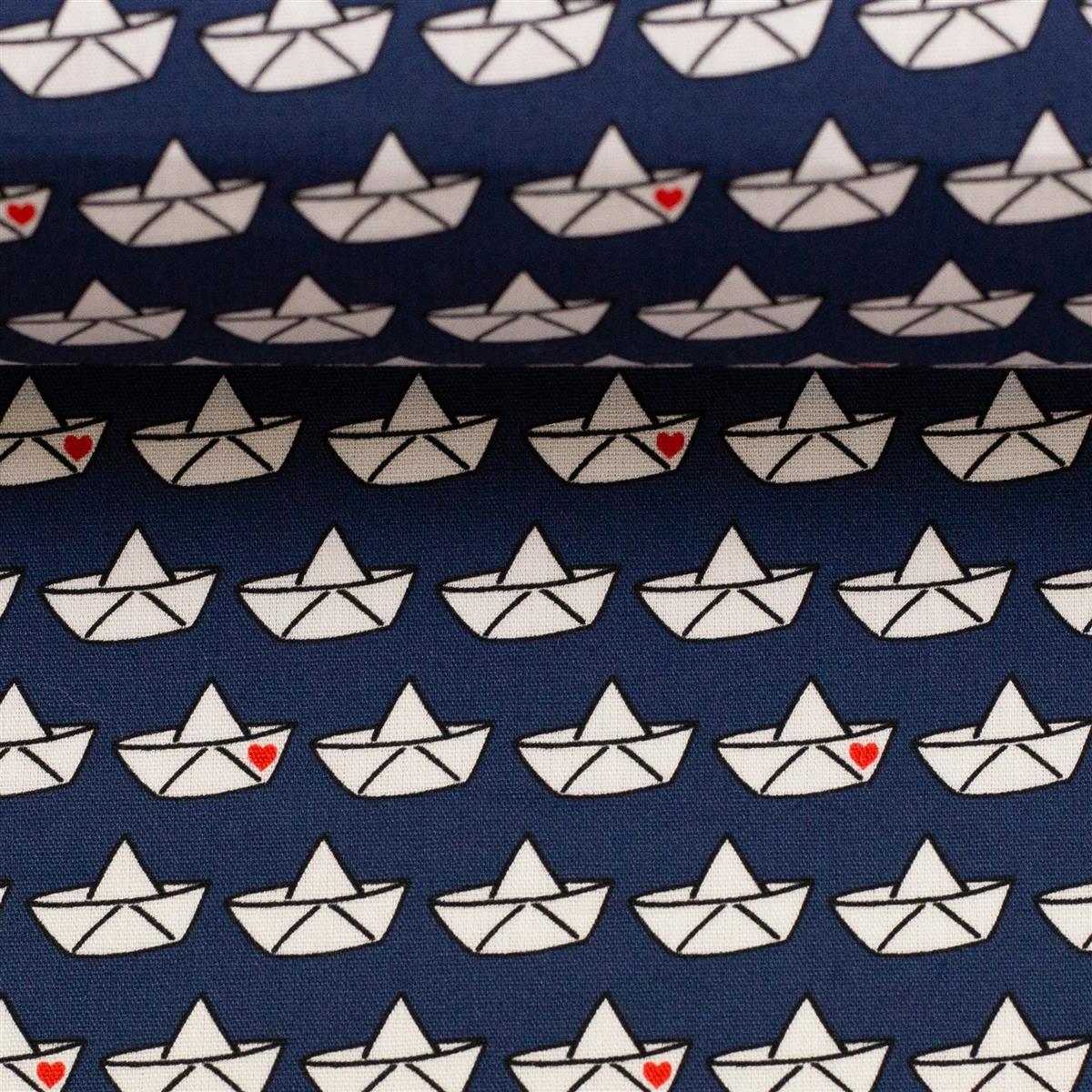 LOVEBOAT by Cherry Picking Popeline Papierboote dunkelblau
