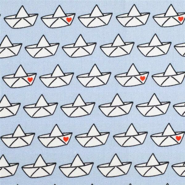 LOVEBOAT by Cherry Picking Popeline Papierboote hellblau zoom