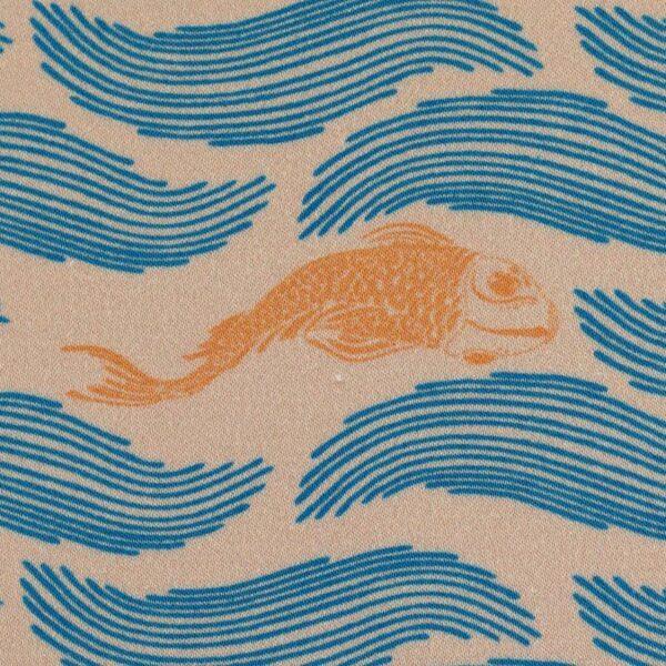 MANY FISH IN THE POND by Bienvenido Colorido Baumwollsatin beige zoom