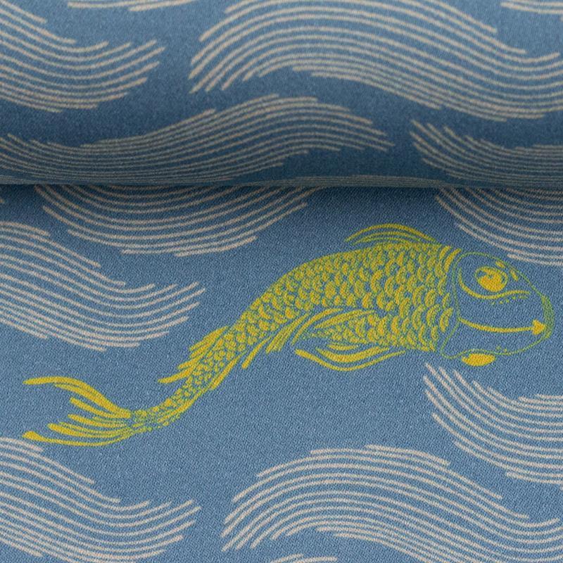 MANY FISH IN THE POND by Bienvenido Colorido Baumwollsatin rauchblau