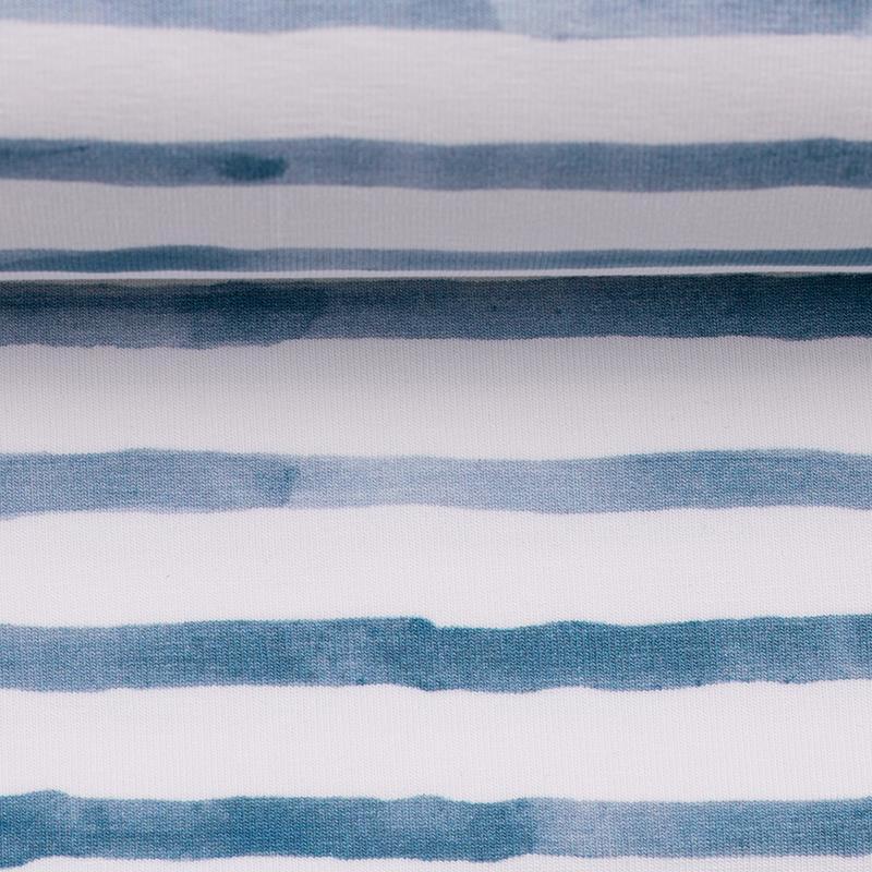 OCEAN BREEZE Jersey Streifen rauchblau weiß