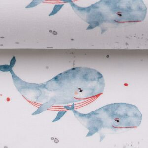 OCEAN BREEZE Jersey Wale rauchblau rot weiß