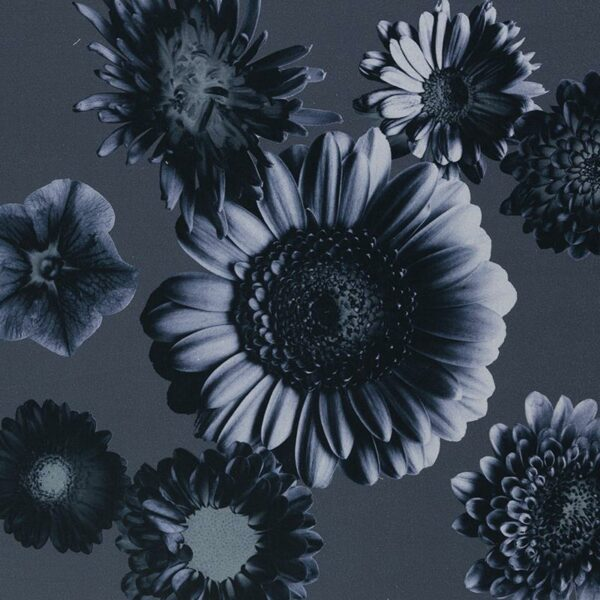 TINTED FLOWERS by Cherry Picking Baumwollsatin dunkles graublau total