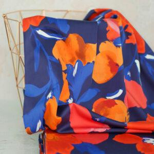AZALEA Baumwollsatin grosse Blumen marine rot orange 2