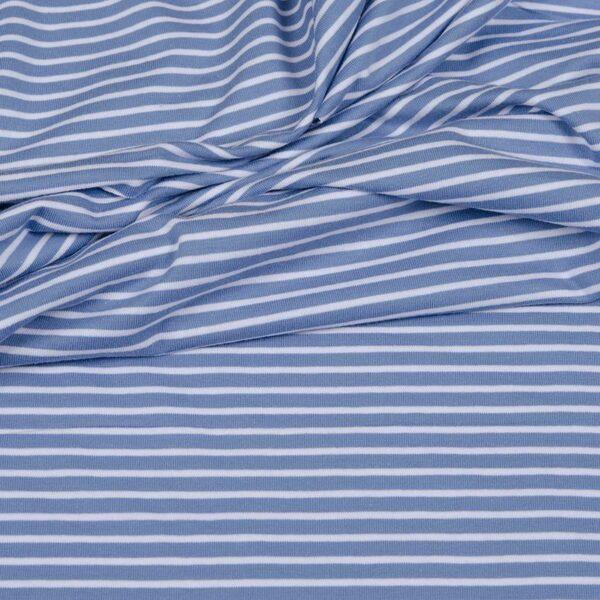 CAMPAN Baumwoll-Jersey Streifen hellblau weiss 1