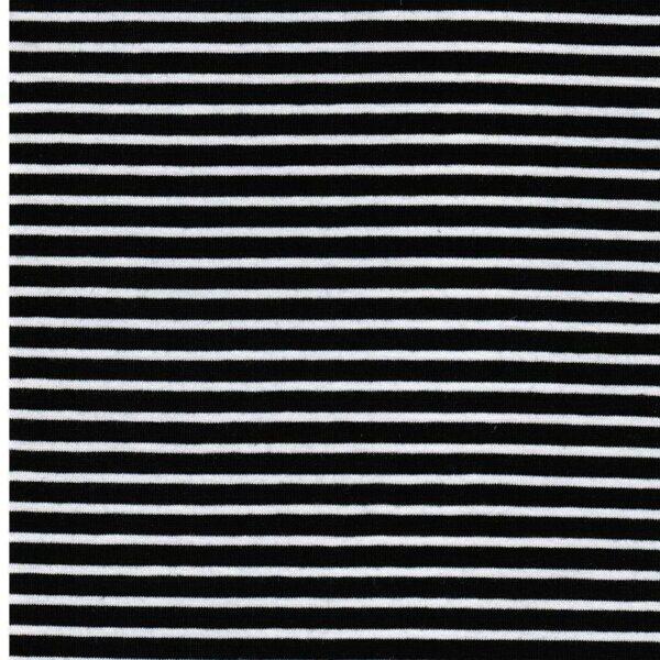 CAMPAN Baumwoll-Jersey Streifen nachtblau weiss