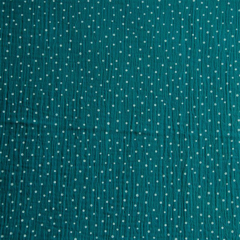 DOUBLE GAUZE DOTS Musselin ozeanblau