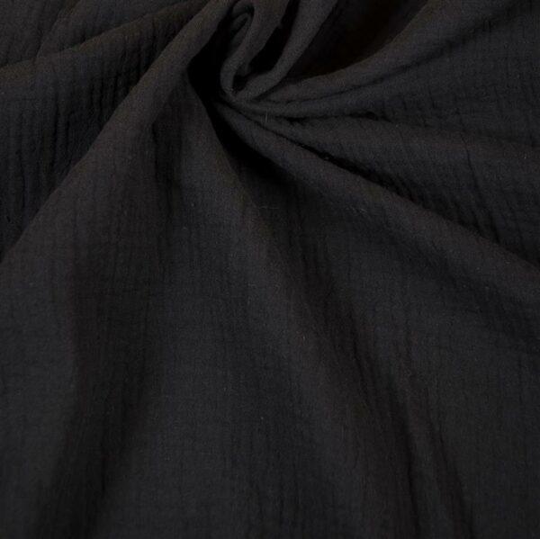 DOUBLE GAUZE Musselin schwarz
