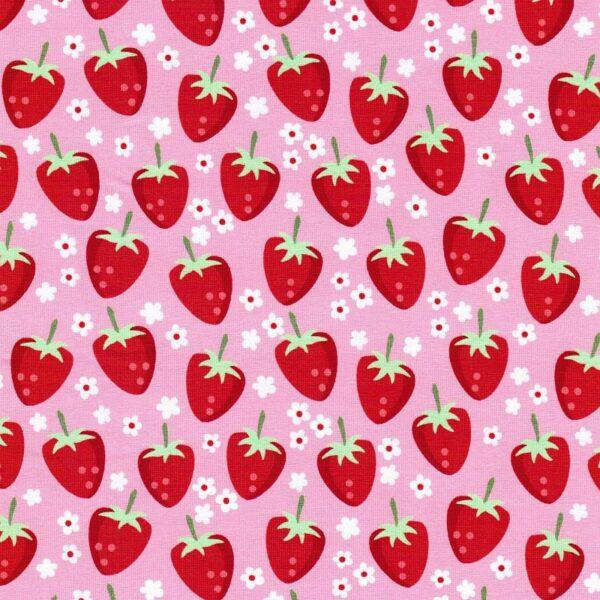 FRESH FRUITS by JaTiJu Baumwoll-Jersey Erdbeeren rosa