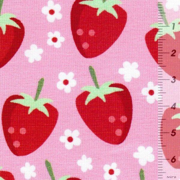 FRESH FRUITS by JaTiJu Baumwoll-Jersey Erdbeeren rosa zoom
