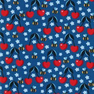 FRESH FRUITS by JaTiJu Baumwoll-Jersey Kirschen Bienen blau total