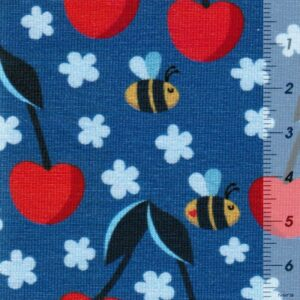 FRESH FRUITS by JaTiJu Baumwoll-Jersey Kirschen Bienen blau zoom