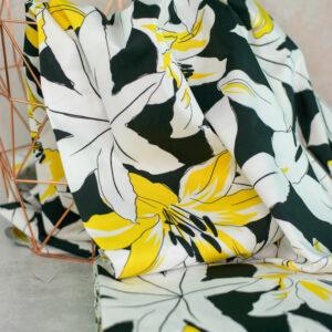 LILLA LILLY Baumwollsatin Lilien schwarz weiss gelb 1