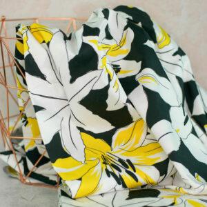 LILLA LILLY Baumwollsatin Lilien schwarz weiss gelb 2
