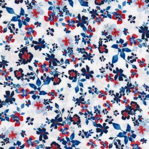 PETITE FLEURS Viskose-Pikee Blumen creme blau