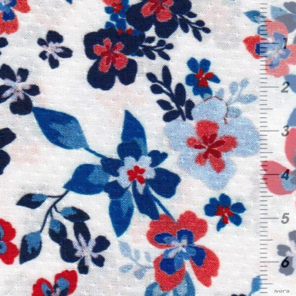 PETITE FLEURS Viskose-Pikee Blumen creme blau zoom