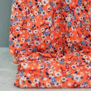 PETITE FLEURS Viskose-Pikee Blumen orange blau 1
