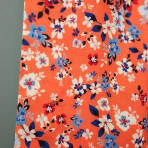 PETITE FLEURS Viskose-Pikee Blumen orange blau 2