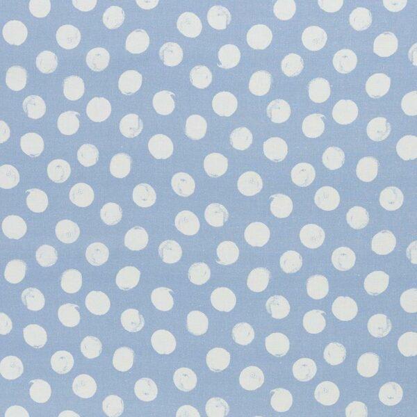 SELMA Viskose-Leinen-Webware Dots hellblau creme total