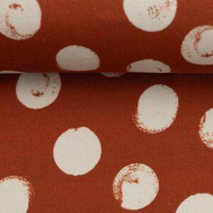 SELMA Viskose-Leinen-Webware Dots terrakotta creme