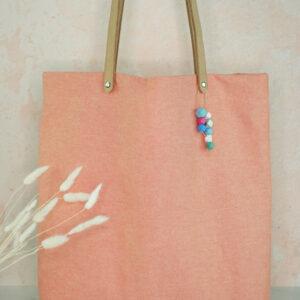 TOTE BAG Canvas koralle Popeline Streublumen 4
