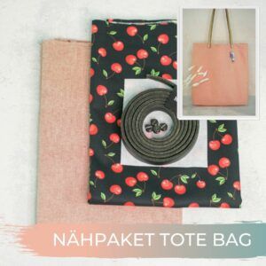TOTE BAG Canvas rot Popeline Kirschen 1