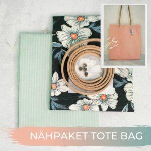 TOTE BAG Jacquard Streifen mint Popeline Blueten 1