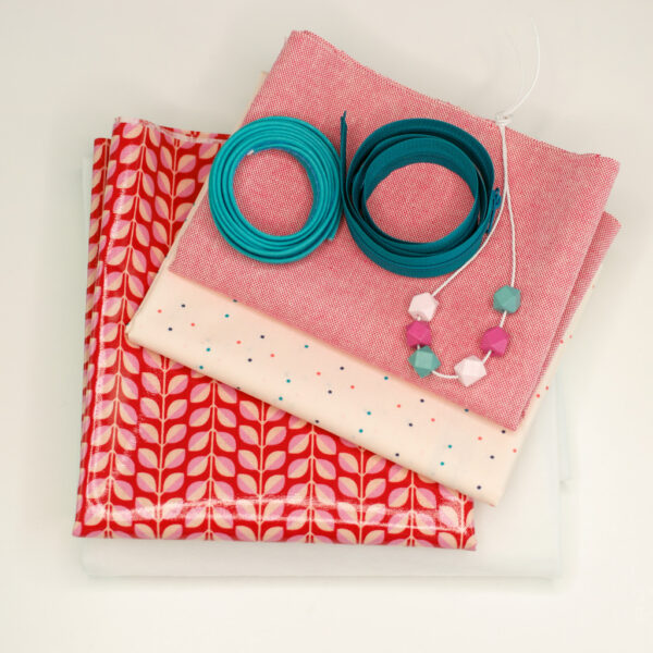Naehpaket-Beautybag-LENE-2er-Set-KOKKA-Lovely-Leaves-rot-rosa-2