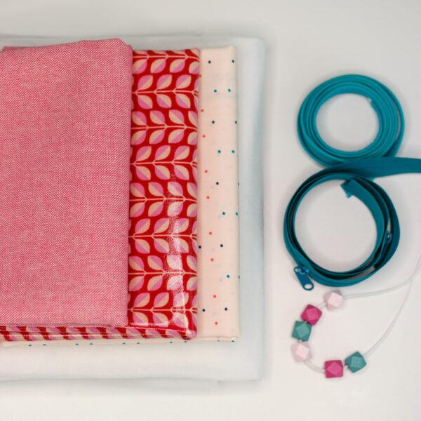 Naehpaket-Beautybag-LENE-2er-Set-KOKKA-Lovely-Leaves-rot-rosa-4