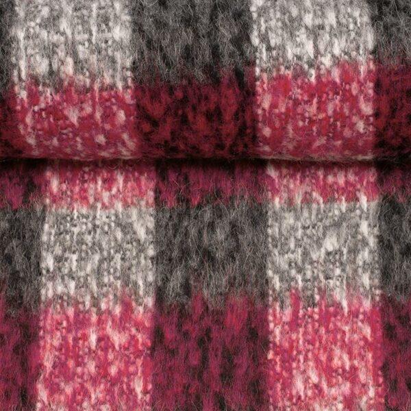 SWAFING-Strick-BIANCA-Wollstoff-Karo-pink-grau_258666