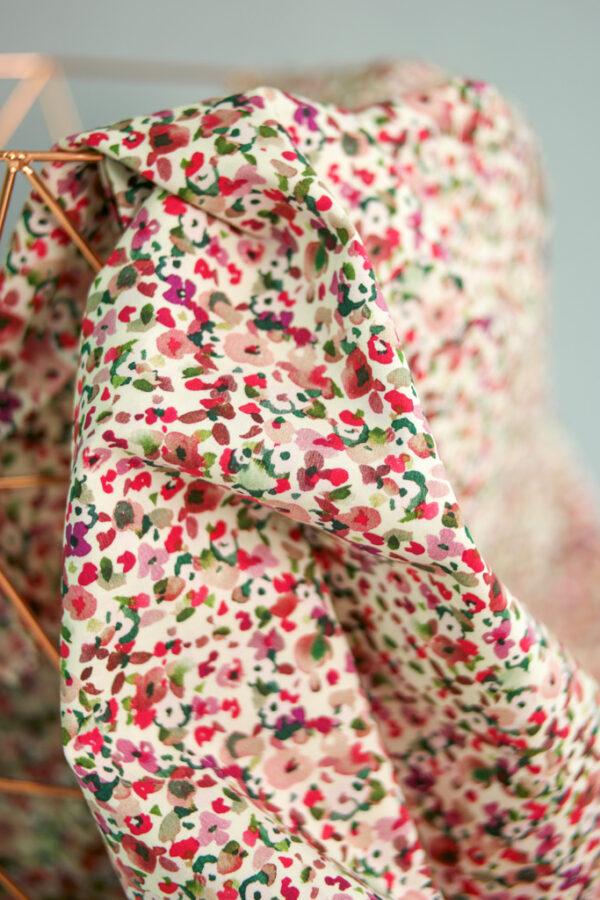 SMALL ABSTRACT FLOWER Baumwoll-Stretch Blumen creme pink grün