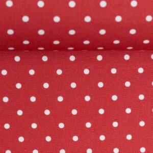 Timo Baumwoll - Webstoff Tupfen rot weiß